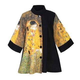 Women's Klimt Jacket - The Kiss Yellow Mandarin Collar Swing Coat