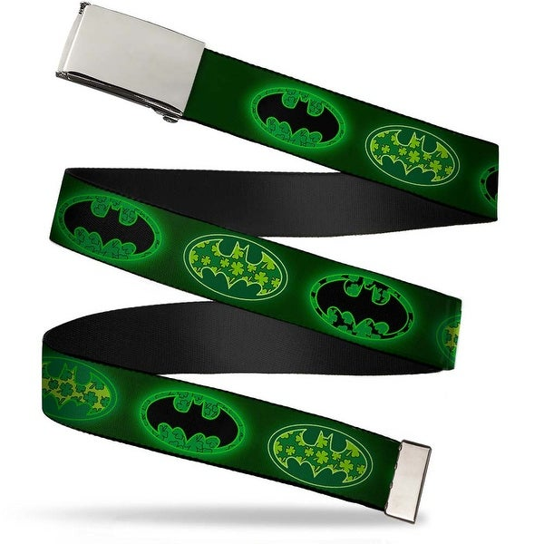 Blank Chrome Buckle Clover Bat Shields Greens Webbing Web Belt