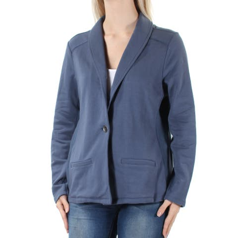 CHARTER CLUB Womens Gray Zippered Collared Zip Up Jacket Size S