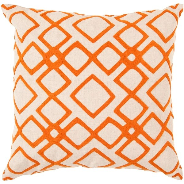 "18"" Pumpkin Orange and Cream Woven Diamond Patterned Decorative Throw Pillow"