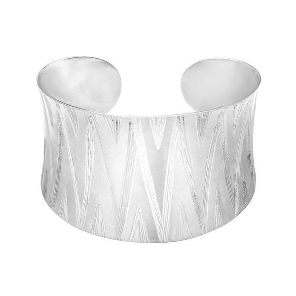 Zig-Zag Cuff Bracelet in Sterling Silver - White