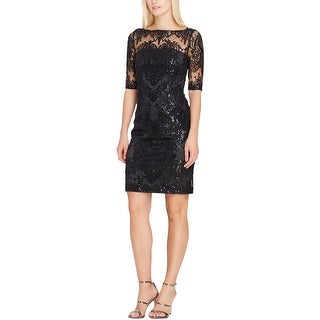 Tahari ASL Womens Petites Cocktail Dress Lace Sequin