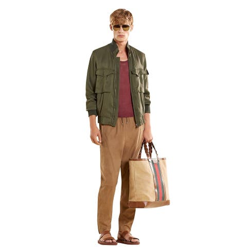 Gucci Bomber Military Olive Green Silk Jacket 333620 3356