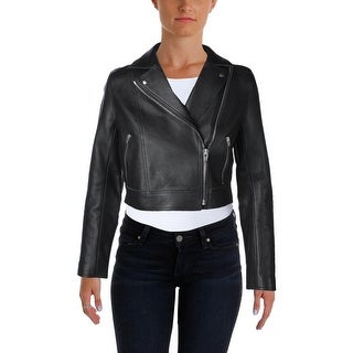 T by Alexander Wang Womens Motorcycle Jacket Leather Cropped - s