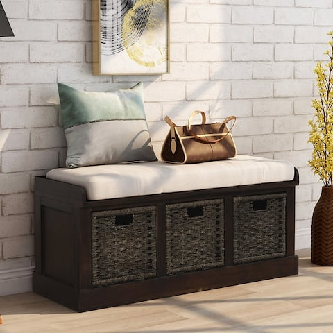 Rustic Entryway Storage Bench with 3 Rattan Basket & Cushion, White