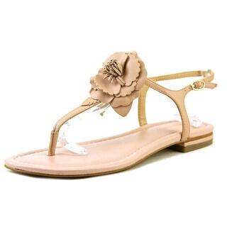 Marc Fisher Elysone Women Open Toe Leather Pink Thong Sandal
