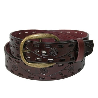 CTM® Women's Center Bar Buckle Belt with Flowers and Perforations