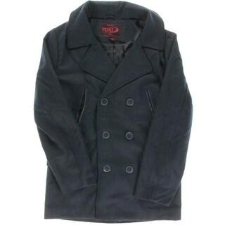 Yoki Mens Wool Blend Faux Trim Pea Coat - M