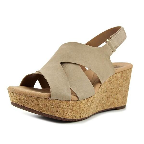 Clarks Annadel Fareda Women Open Toe Leather Tan Wedge Sandal
