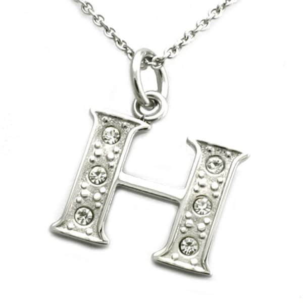 Stainless Steel Alphabet Initial Pendant w/ CZ Stones - Letter H - 18 inches