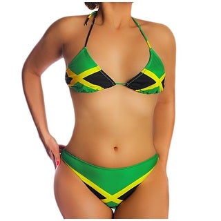 Jamaican Flag String Bikini Jamaica Swimsuit U.S. Junior`s Sizes