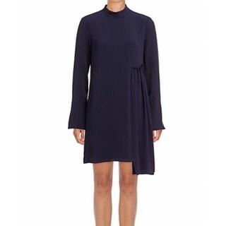 Rachel Rachel Roy Blue Women's 4 Asymmetric Mock Neck Shift Dress, Sapphire , 0