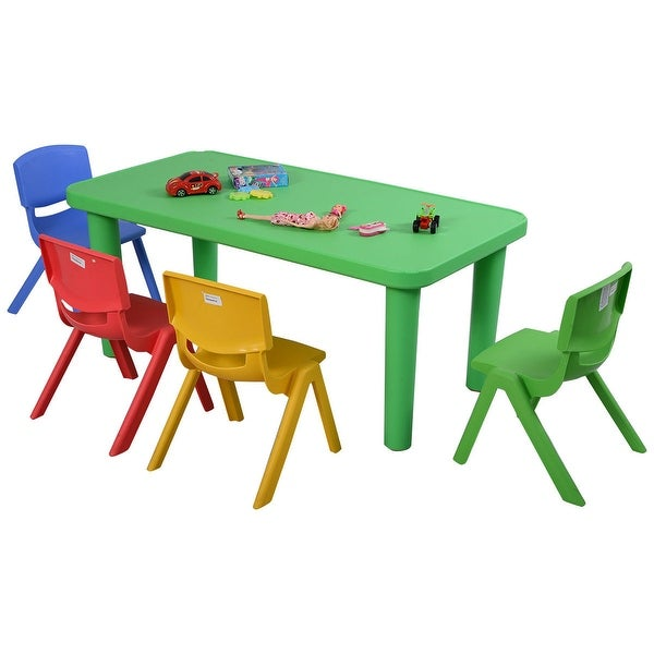 Costway Kids Plastic Table And 4 Chairs Set Colorful Play School Home Fun  Furniture   As