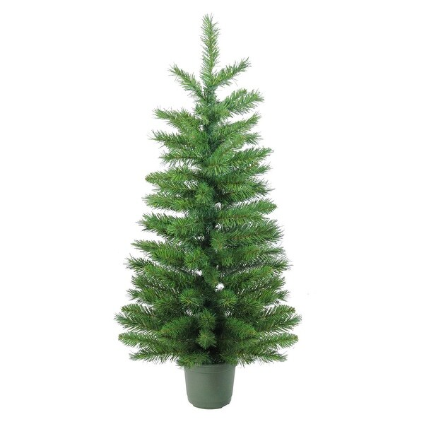 4' Slim Green Walkway Artificial Potted Christmas Tree - Unlit