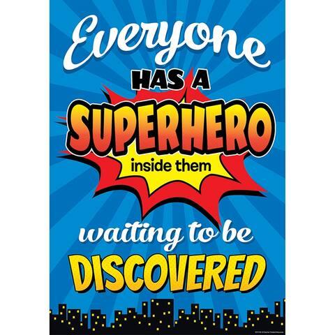"Superhero Inside Poster - Blue - 3/8"" x 19"""