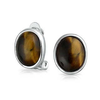 Bling Jewelry Imitation Tiger Eye Clip On Earrings Rhodium Plated Alloy