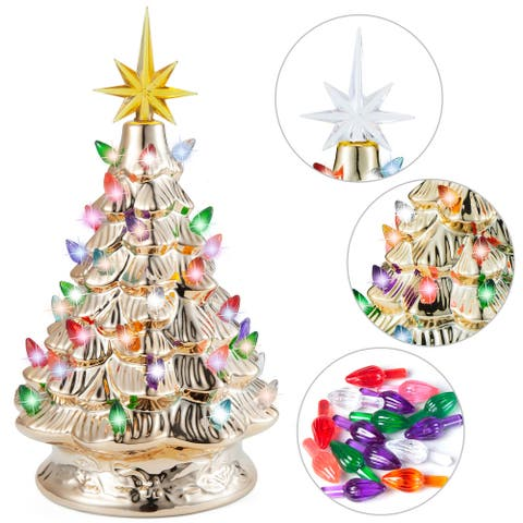"""Joiedomi 10.8 in. Tall Gold & Yellow Ceramic Christmas Tree - 8.6""""W x 7.8""""L x 10.8""""H"""