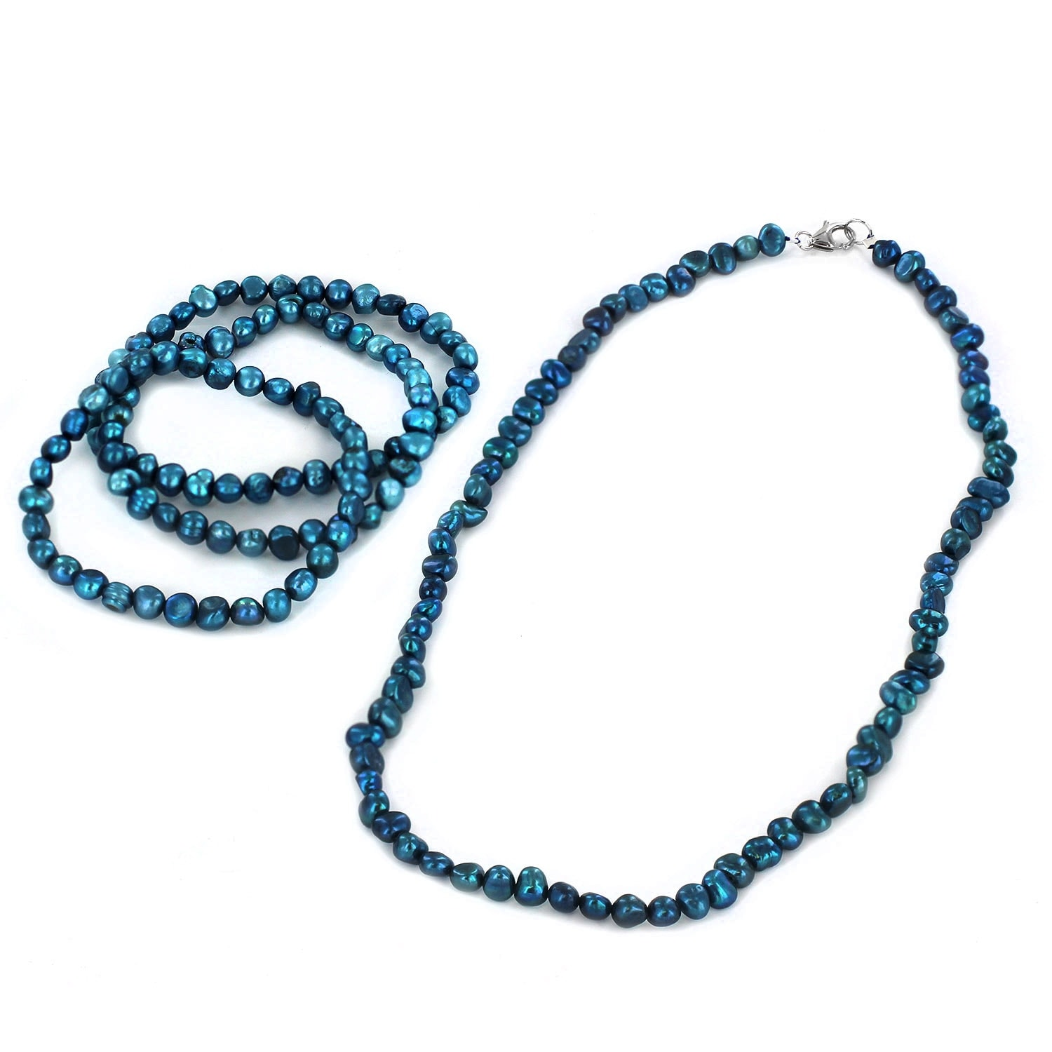 Simulated Pearl Beaded Necklace and 3 Piece Stretch Bracelet Set - Thumbnail 4
