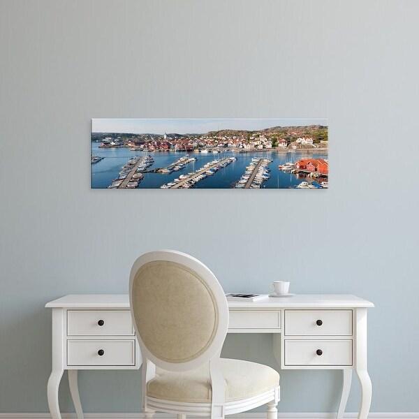 Easy Art Prints Panoramic Image 'Boats at harbor, Skarhamn, Tjorn, Bohuslan, VastrGotaland County, Sweden' Canvas Art