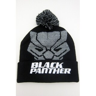 Marvel Black Panther Pom Beanie with Embroidered Logo, hat, cuff