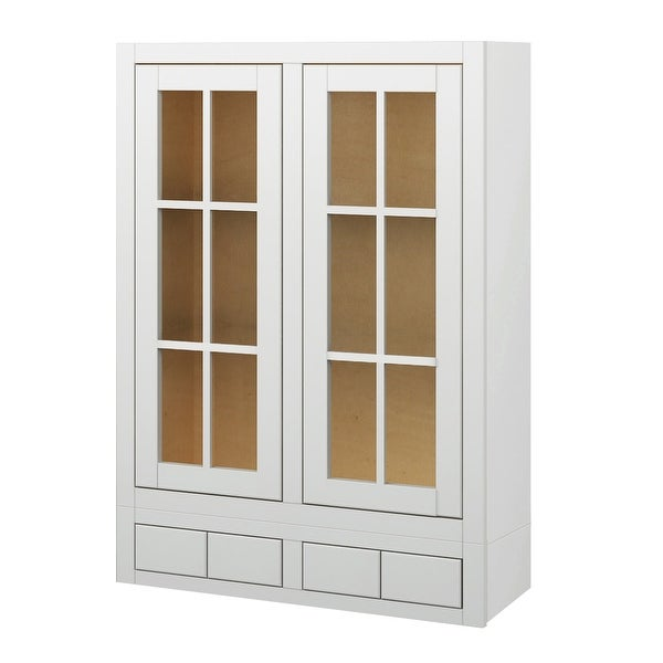 ... Wall Cabinet With Glass Doors And 4 Drawers   Linen. Image Gallery
