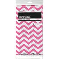 "Plastic Tablecover 54""X108""-Hot Pink Chevron"