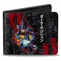 Dark Magician Pose Dark Kanji + Yu Gi Oh! Grays Black Red Bi Fold Wallet - One Size Fits most