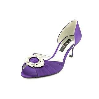 Nina Crystah Open-Toe Canvas Heels