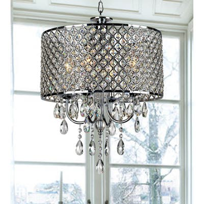 Silver Orchid Berger Chrome Finish 4-light Round Crystal Chandelier
