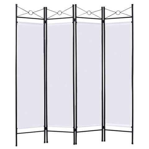 Costway White 4 Panel Room Divider Privacy Screen Home Office Fabric Metal Frame