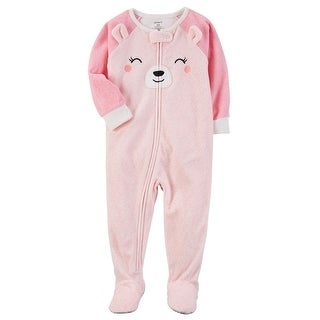Carter's Baby Girls' 1 Piece Bear Fleece Pajamas, 24 Months