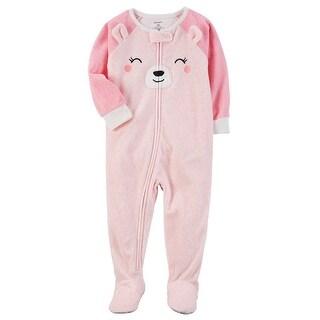 Carter's Baby Girls' 1 Piece Bear Fleece Pajamas, 24 Months