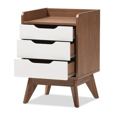 Brighton Mid-Century Modern White and Walnut Wood 3-Drawer Storage Nightstand