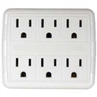 Power Zone OR801011 Six Outlet Power Tap, White