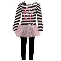 "Mini Moca Little Girls Black White Stripe ""Love"" Applique 2 Pc Legging Set"