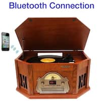 8-in-1 Boytone BT-25CB with Bluetooth Connection Natural Wood Classic Turntable Stereo System, Vinyl Record Player, AM/FM, CD