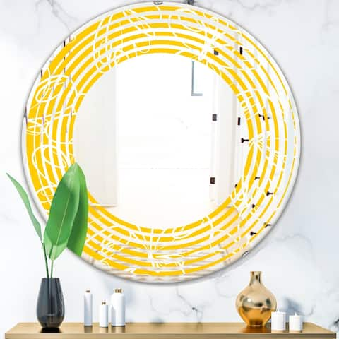 Designart 'Butterflies hand drawn color pattern' Modern Round or Oval Wall Mirror - Wave
