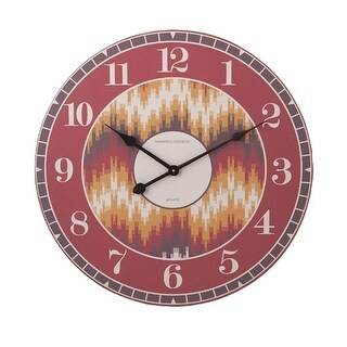 "23.75"" Fiery Red Yellow and Brown Geometric Patterned Decorative Round Wall Clock"