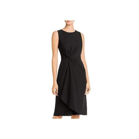 Donna Karan Womens Wear to Work Dress Knot-Front Office - Black - 16