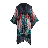 Cocoon House Women's Silk Peonies Kimono Jacket - Open Front Fashion Wrap - 34""