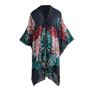 """Cocoon House Women's Silk Peonies Kimono Jacket - Open Front Fashion Wrap - 34"""" - One Size"""