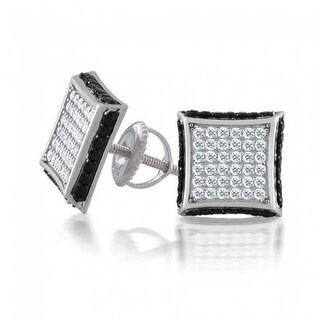 Bling Jewelry Black and White Micro Pave CZ Square Stud earrings 925 Sterling Silver 9mm