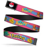 Poke Ball Fcg  Chrome Pokemon Pikachu & Kanto Starter Pokemon Stripe Web Belt