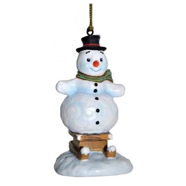 "3.75"" Snowfall Valley Snow Day Fun Festive Snowman On Sled Christmas Ornament - WHITE"