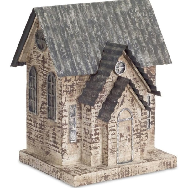 Pack of 2 Decorative Poly-resin and Metal Church Figure
