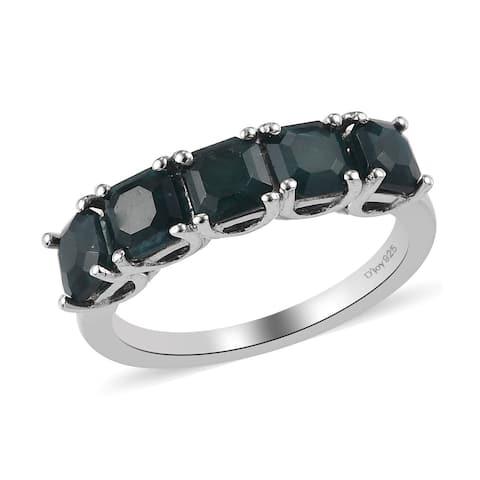 Platinum Over 925 Silver Grandidierite 5 Stone Ring Size 8 Ct 1.6