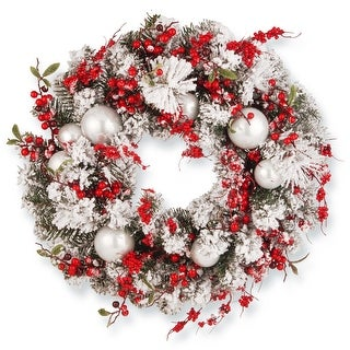 Red and White Ornaments Artificial Wreath - 24-Inch, Unlit - N/A