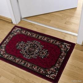 """Allstar Red Doormat Accent Rug Woven High Quality High Density Double Shot Drop-Stitch Carving (2' 0"""" x 3' 3"""")"""