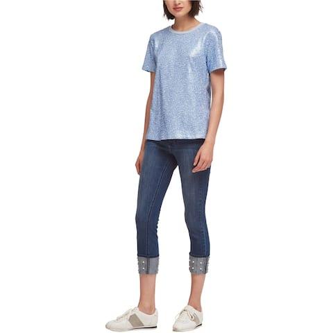 DKNY Womens Sequined Embellished T-Shirt, Blue, Medium