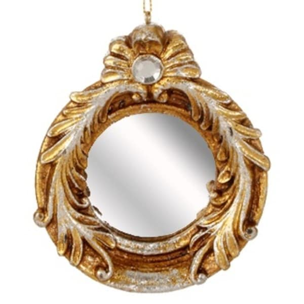 "4"" Distressed-Finish Antique Gold Glitter Round Mirror with Scroll Accents Christmas Ornament"